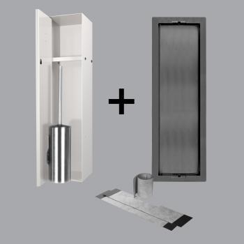 ESS Container T-ROLL Einbau WC - Bürstenhalter und Nische für Nass- und Trockenbau, befliesbar creme