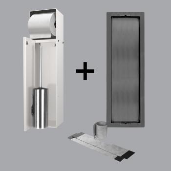 ESS Container T-ROLL Einbau WC - Bürstenhalter und Papierhalter für Nass- und Trokenbau, befliesbar creme
