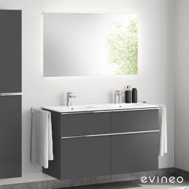 Evineo ineo4 Doppelwaschtisch mit Waschtischunterschrank mit Griff, mit LED-Spiegel Front anthrazit matt/verspiegelt / Korpus anthrazit matt