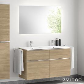 Evineo ineo4 Doppelwaschtisch mit Waschtischunterschrank mit Griff, mit LED-Spiegel Front eiche/verspiegelt / Korpus eiche