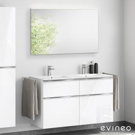 Evineo ineo4 Doppelwaschtisch mit Waschtischunterschrank mit Griff, mit LED-Spiegel Front weiß hochglanz/verspiegelt / Korpus weiß hochglanz