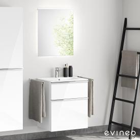 Evineo ineo4 Waschtisch mit Waschtischunterschrank mit Griff, mit LED-Spiegel Front weiß hochglanz/verspiegelt / Korpus weiß hochglanz