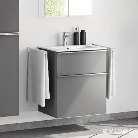 Evineo ineo4 Waschtisch mit Waschtischunterschrank mit 2 Auszügen und mit Griff Front anthrazit matt / Korpus anthrazit matt, weiß