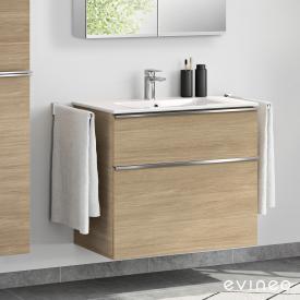 Evineo ineo4 Waschtisch mit Waschtischunterschrank mit 2 Auszügen, mit Griff Front eiche / Korpus eiche