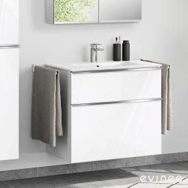 Evineo ineo4 Waschtisch mit Waschtischunterschrank mit 2 Auszügen, mit Griff Front weiß hochglanz / Korpus weiß hochglanz