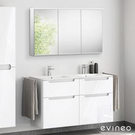 Evineo ineo5 Doppelwaschtisch mit Waschtischunterschrank mit Griffmulde, mit LED-Spiegelschrank Front weiß hochglanz/verspiegelt / Korpus weiß hochglanz/verspiegelt