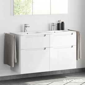 Evineo ineo5 Doppelwaschtisch mit Waschtischunterschrank mit 4 Auszügen und mit Griffmulde Front weiß hochglanz / Korpus weiß hochglanz, weiß