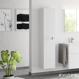 Evineo ineo5 Hochschrank mit 2 Türen und mit Griffmulde Front weiß hochglanz / Korpus weiß hochglanz