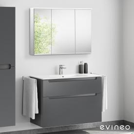 Evineo ineo5 Waschtisch mit Waschtischunterschrank mit Griffmulde, mit LED-Spiegelschrank Front anthrazit matt/verspiegelt / Korpus anthrazit matt/verspiegelt