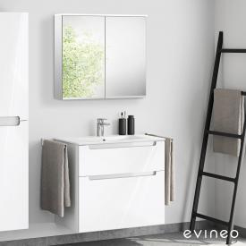 Evineo ineo5 Waschtisch mit Waschtischunterschrank mit Griffmulde, mit LED-Spiegelschrank Front weiß hochglanz/verspiegelt / Korpus weiß hochglanz/verspiegelt
