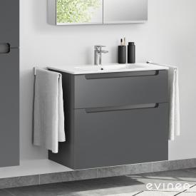 Evineo ineo5 Waschtisch mit Waschtischunterschrank mit 2 Auszügen, mit Griffmulde Front anthrazit matt / Korpus anthrazit matt