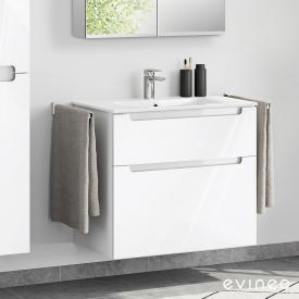 Evineo ineo5 Waschtisch mit Waschtischunterschrank mit 2 Auszügen, mit Griffmulde Front weiß hochglanz / Korpus weiß hochglanz