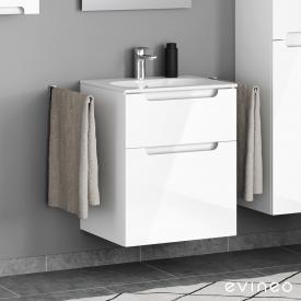 Geberit Acanto Slim Waschtisch mit Evineo ineo5 Waschtischunterschrank mit 2 Auszügen, mit Griffmulde Front weiß hochglanz / Korpus weiß hochglanz, WT weiß, mit KeraTect, mit 1 Hahnloch
