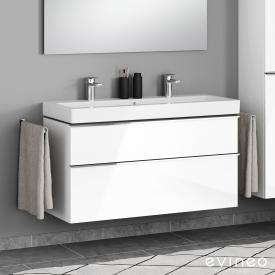 Geberit iCon Doppelwaschtisch mit Evineo ineo4 Waschtischunterschrank mit 2 Auszügen, mit Griff Front weiß hochglanz / Korpus weiß hochglanz, WT weiß, mit Keratect, mit 2 Hahnlöchern