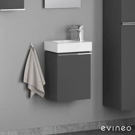 Geberit iCon Handwaschbecken mit Evineo ineo4 Waschtischunterschrank mit 1 Tür, mit Griff Front anthrazit matt / Korpus anthrazit matt, WT weiß