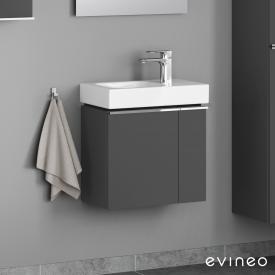 Geberit iCon Handwaschbecken mit Evineo ineo4 Waschtischunterschrank mit 2 Türen, mit Griff Front anthrazit matt / Korpus anthrazit matt, WT weiß
