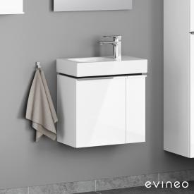 Geberit iCon Handwaschbecken mit Evineo ineo4 Waschtischunterschrank mit 2 Türen, mit Griff Front weiß hochglanz / Korpus weiß hochglanz, WT weiß, mit KeraTect