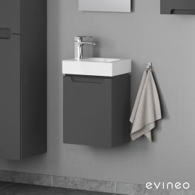Geberit iCon Handwaschbecken mit Evineo ineo5 Waschtischunterschrank mit 1 Tür, mit Griffmulde Front anthrazit matt / Korpus anthrazit matt, WT weiß, mit KeraTect