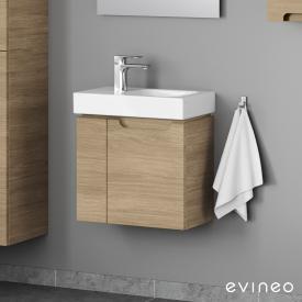 Geberit iCon Handwaschbecken mit Evineo ineo5 Waschtischunterschrank mit 2 Türen, mit Griffmulde Front eiche / Korpus eiche, WT weiß, mit KeraTect