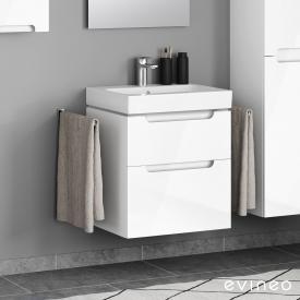 Geberit iCon Waschtisch mit Evineo ineo5 Waschtischunterschrank mit 2 Auszügen, mit Griffmulde Front weiß hochglanz / Korpus weiß hochglanz, WT weiß, mit KeraTect, mit 1 Hahnloch, mit Überlauf