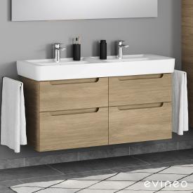 Geberit Renova Plan Doppelwaschtisch mit Evineo ineo5 Waschtischunterschrank mit 4 Auszügen, mit Griffmulde Front eiche / Korpus eiche, WT weiß, mit Keratect