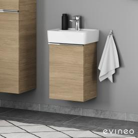 Geberit Renova Plan Handwaschbecken mit Evineo ineo4 Waschtischunterschrank mit 1 Tür, mit Griff Front eiche / Korpus eiche, WT weiß