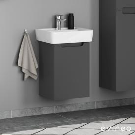 Geberit Renova Plan Handwaschbecken mit Evineo ineo5 Waschtischunterschrank mit 1 Tür, mit Griffmulde Front anthrazit matt / Korpus anthrazit matt, WT weiß, mit KeraTect