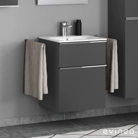 Geberit Renova Plan Slim Waschtisch mit Evineo ineo4 Waschtischunterschrank mit 2 Auszügen, mit Griff Front anthrazit matt / Korpus anthrazit matt, WT weiß