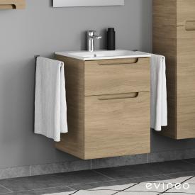 Geberit Renova Plan Slim Waschtisch mit Evineo ineo5 Waschtischunterschrank mit 2 Auszügen, mit Griffmulde Front eiche / Korpus eiche, WT weiß