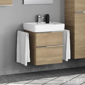 Geberit Renova Plan Waschtisch mit Evineo ineo4 Waschtischunterschrank mit 2 Auszügen, mit Griff Front eiche / Korpus eiche, WT weiß