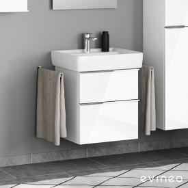 Geberit Renova Plan Waschtisch mit Evineo ineo4 Waschtischunterschrank mit 2 Auszügen, mit Griff Front weiß hochglanz / Korpus weiß hochglanz, WT weiß