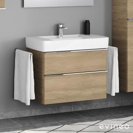 Geberit Renova Plan Waschtisch mit Evineo ineo4 Waschtischunterschrank mit 2 Auszügen, mit Griff Front eiche / Korpus eiche, WT weiß, mit Überlauf