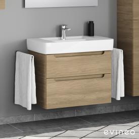 Geberit Renova Plan Waschtisch mit Evineo ineo5 Waschtischunterschrank mit 2 Auszügen, mit Griffmulde Front eiche / Korpus eiche, WT weiß, mit Überlauf