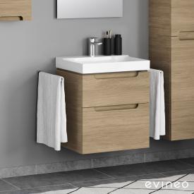 Geberit Xeno² Waschtisch mit Evineo ineo5 Waschtischunterschrank mit 2 Auszügen, mit Griffmulde Front eiche / Korpus eiche, WT weiß, mit KeraTect, mit 1 Hahnloch