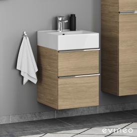 Scarabeo Teorema 2.0 Handwaschbecken mit Evineo ineo4 Waschtischunterschrank mit 2 Auszügen, mit Griff Front eiche / Korpus eiche, WT weiß