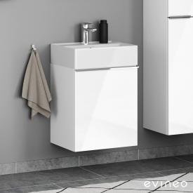 Scarabeo Teorema 2.0 Handwaschbecken mit Evineo ineo4 Waschtischunterschrank mit 1 Tür, mit Griff Front weiß hochglanz / Korpus weiß hochglanz, WT weiß, mit BIO System Beschichtung