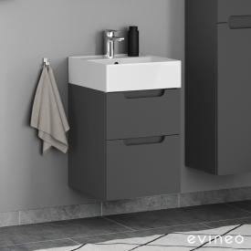 Scarabeo Teorema 2.0 Handwaschbecken mit Evineo ineo5 Waschtischunterschrank mit 2 Auszügen, mit Griffmulde Front anthrazit matt / Korpus anthrazit matt, WT weiß