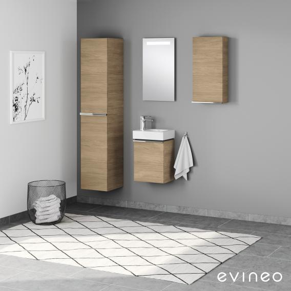 Geberit iCon Handwaschbecken mit Evineo ineo4 Waschtischunterschrank mit 1 Tür, mit Griff Front eiche / Korpus eiche, WT weiß, mit KeraTect