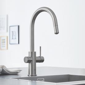 Grohe Blue Home die NEUE Küchenarmatur mit Filterfunktion, C-Auslauf ausziehbar supersteel