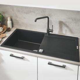 Grohe K500 drehbare Einbauspüle mit Abtropffläche granit schwarz