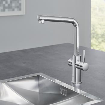 Grohe Red die NEUE Küchenarmatur mit Filterfunktion für kochend heißes Wasser, C-Auslauf, L-Auslauf chrom