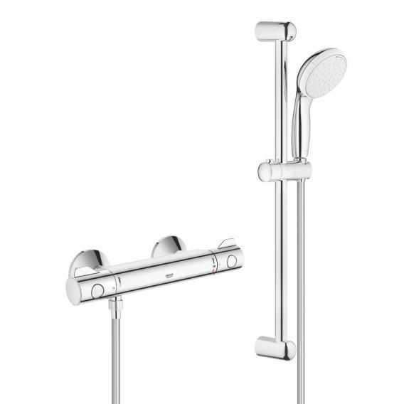 Grohe Grohtherm 800 Thermostat-Brausebatterie mit Brausegarnitur, für Wandmontage Höhe: 620 mm