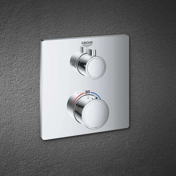 Grohe Grohtherm Thermostat-Brausebatterie mit 2-Wege-Umstellung eckig, für Rapido SmartBox