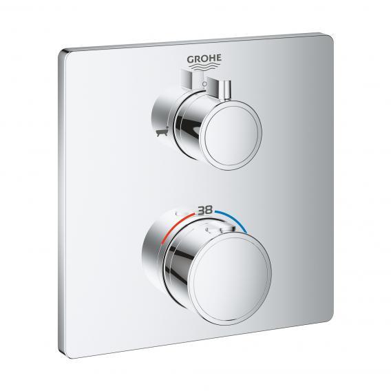 Grohe Grohtherm Thermostat-Wannenbatterie mit 2-Wege-Umstellung eckig, für Rapido SmartBox