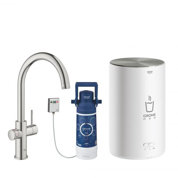 Grohe Red die NEUE Küchenarmatur mit Filterfunktion für kochend heißes Wasser, C-Auslauf supersteel