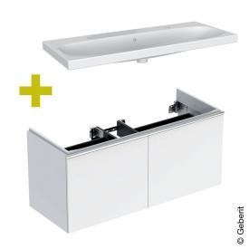 Geberit Acanto Doppelwaschtisch mit Waschtischunterschrank mit 2 Auszügen Front weiß / Korpus weiß hochglanz, Griff weiß, WT weiß, mit KeraTect, mit 2 Hahnlöchern, mit Überlauf