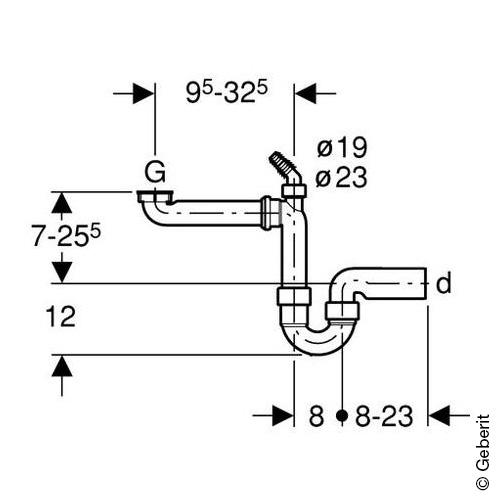 """Geberit Spültischablauf 1 1/2"""" (Raumsparmodell) Rohrdurchmesser 50 mm"""