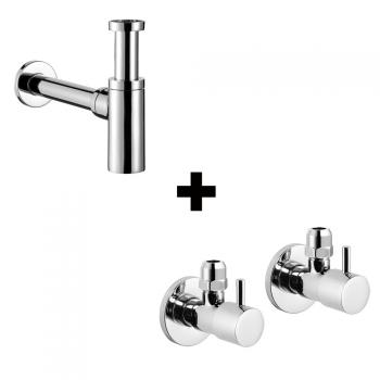 Avenarius Design-Siphon 1 1/4 Zoll pro line & 2 Eckventile 1/2 Zoll, rund