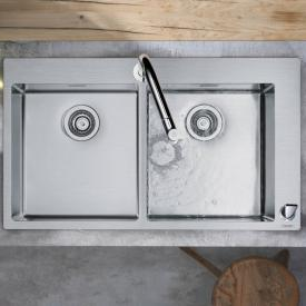Hansgrohe C71 Spülencombi 370 x 370, mit 2 Becken B: 86,5 T: 50 cm chrom