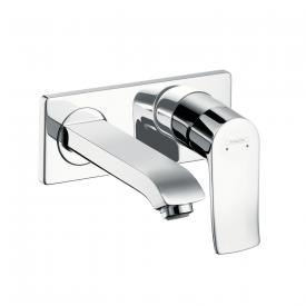 Hansgrohe Metris Einhebel-Waschtischmischer LowFlow für Wandmontage Ausladung: 165 mm